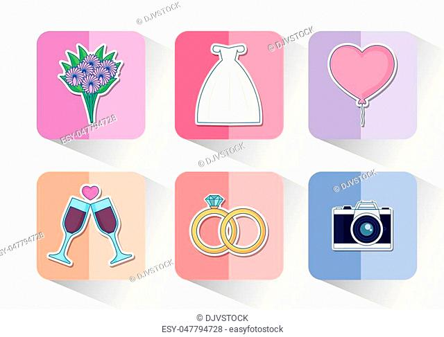 Icon set of wedding concept over colorful squares and white background, vector illustration