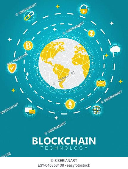 Blockchain digital tech concept vector illustration. Cryptocurrency and blockchain network technology banner, poster design template