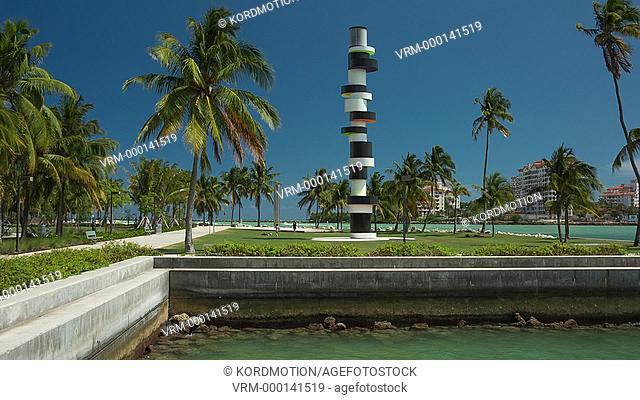 STATIC LOCKED DOWN TOBIAS REHBERGER OBSTINATE LIGHTHOUSE SCULPTURE SOUTH POINTE PARK MIAMI BEACH FLORIDA USA