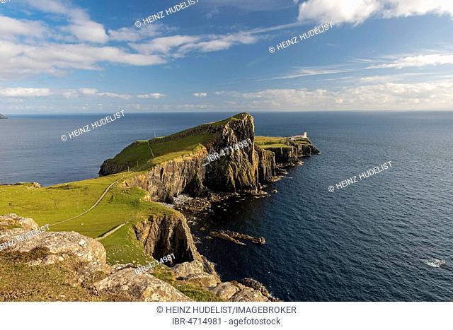 Neist Point with lighthouse, Isle of Skye, Scotland, Great Britain
