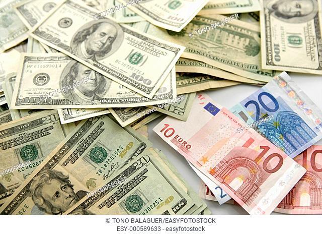 Dolar versus euro notes, finance metaphor image