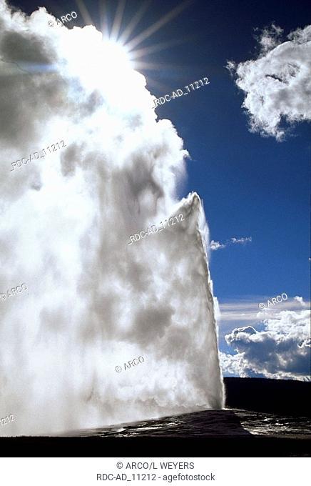 Eruption of Old Faithful Geyser Yellowstone national park Wyoming USA