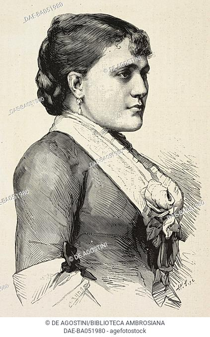Portrait of Gabrielle Krauss (1842-1906), Austrian soprano, actor in The Tribute of Zamora, illustration from L'Illustration, Journal Universel, No 1989