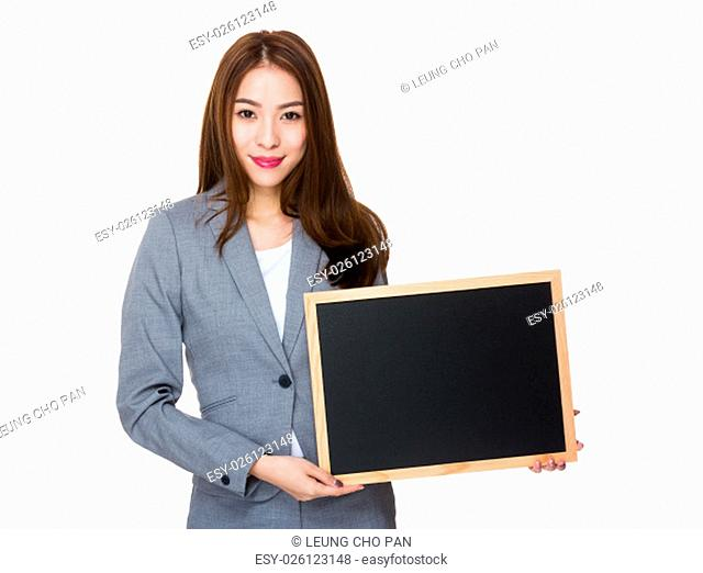 Asian Businesswoman showing with the chalkboard