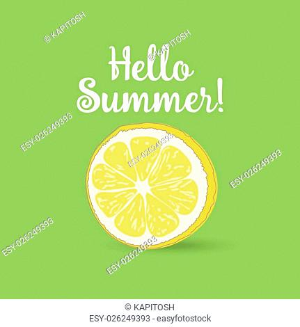 Hello Summer Inscription over strawberry. Vector strawberry isolated on grenbackground