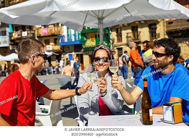 Guide with tourists having a wine, Txakoli, Plaza Santiago, Pasai Donibane, Pasajes de San Juan, Gipuzkoa, Basque Country, Spain, Europe