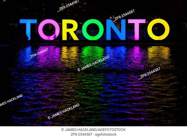 A multi coloured 'Toronto' logo that was erected at Nathan Phillips Square during the Pan Am Games in Toronto, Ontario, Canada
