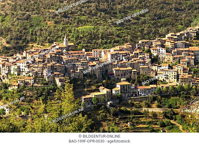View over the small mountain village of Apricale a popular tourist destination in the Ligurian Alps, North West Italy