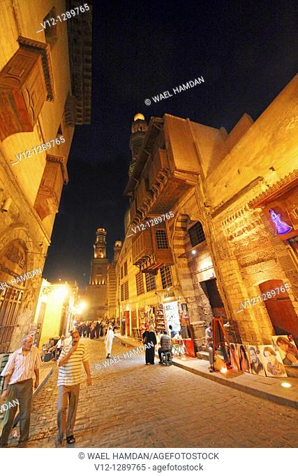 Al Mu'izz street at night, Cairo, Egypt