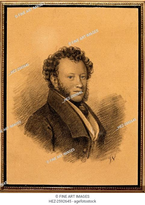 Portrait of the author Alexander S. Pushkin (1799-1837), 1827. Found in the collection of the Institut of Russian Literature IRLI (Pushkin-House), St Petersburg