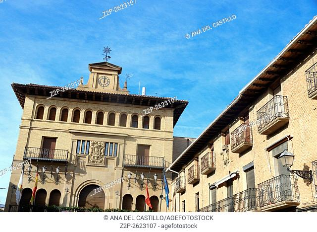 town hall building in Olite village Navarra Spain