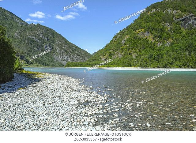 shore of river with turquoise water, Norway, river downriver Nigardsbreen glacier with pebble stones, Jostedalen near Gaupne