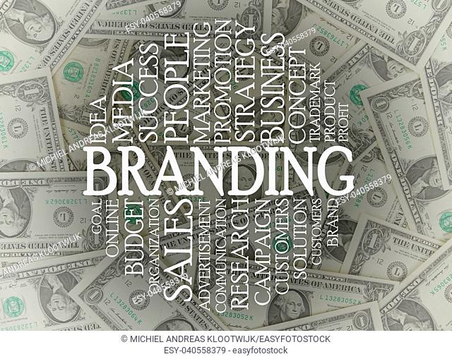 Branding word cloud on top of american dollars
