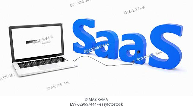 SaaS - Software as a Service - laptop notebook computer connected to a word on white background. 3d render illustration