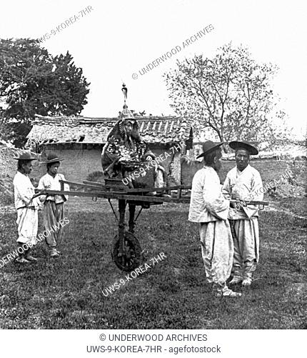 Seoul, Korea: c. 1904.A one wheeled cart of a Korean General of the old regime