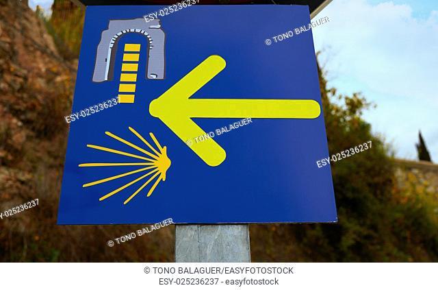 Via de la Plata sign and Saint James way in Caceres spain