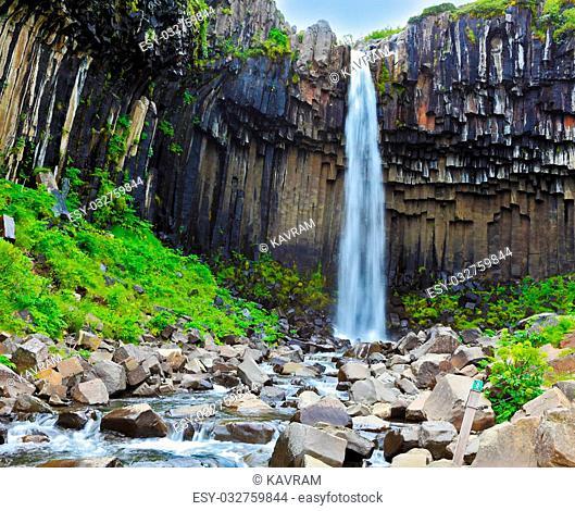 Magnificent waterfall Svartifoss in Icelandic Skaftafell park. Black basalt columns frame the water jet