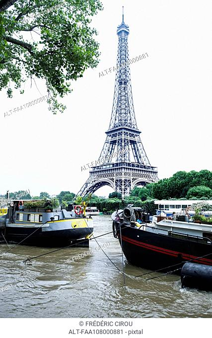 Eiffel Tower viewed from the Seine River, Paris, France