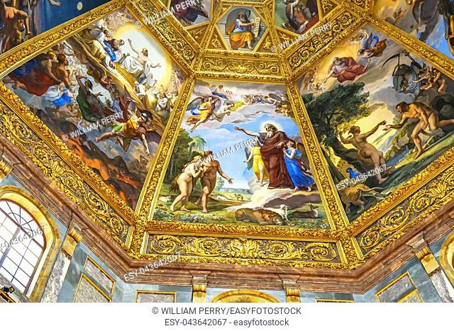 Adam Eve God Painting Dome San Lorenzo Medici Church Florence Tuscany Italy. Family Church Medici Family