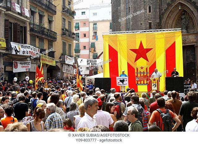 September 11th, Catalan National Holiday (2008): Catalan nationalists gathered on the Fosar de les Moreres. Barcelona. Catalonia. Spain