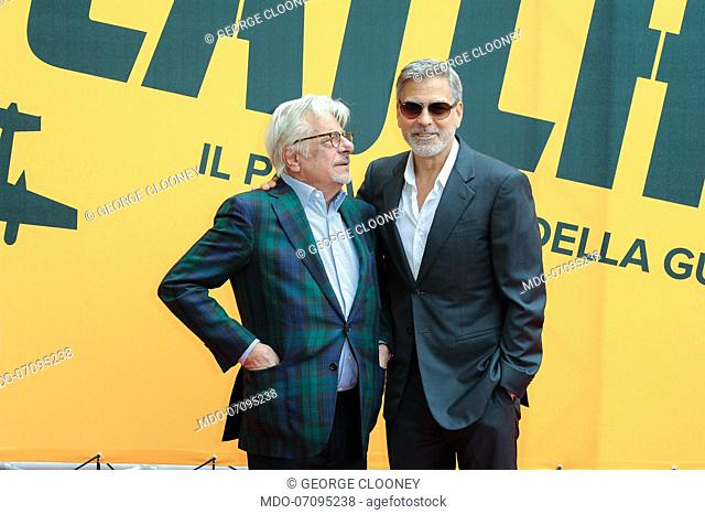 American actor George Clooney and Italian actor and director Giancarlo Giannini attend the Sky TV series Catch-22 photocall