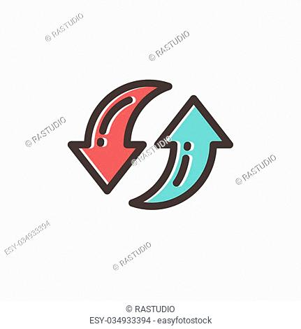Pair of arrow thin line for web and mobile, modern minimalistic flat design. Vector icon with dark grey outline and offset colour on light grey background
