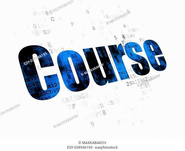 Studying concept: Pixelated blue text Course on Digital background