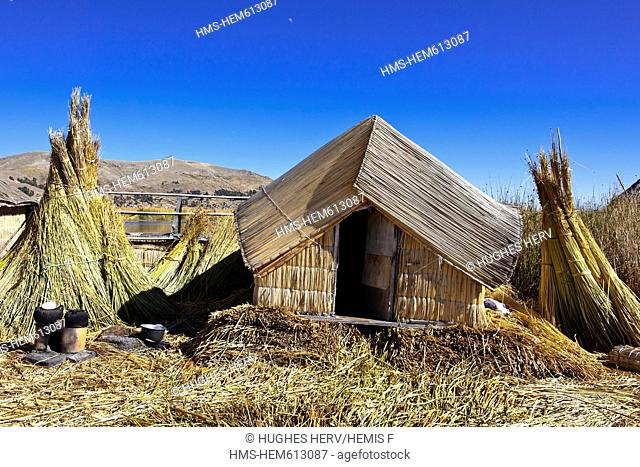 Peru, Puno province, Titicaca lake, floating islands of Uros, lying on a bed of reeds, 80 cm high above the surface of water