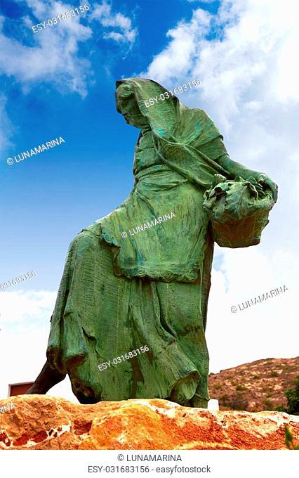Mojacar Almeria mojaquera statue woman in Mediterranean Spain