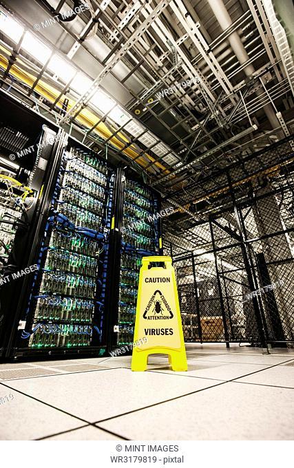 Servers on racks in a large computer server farm