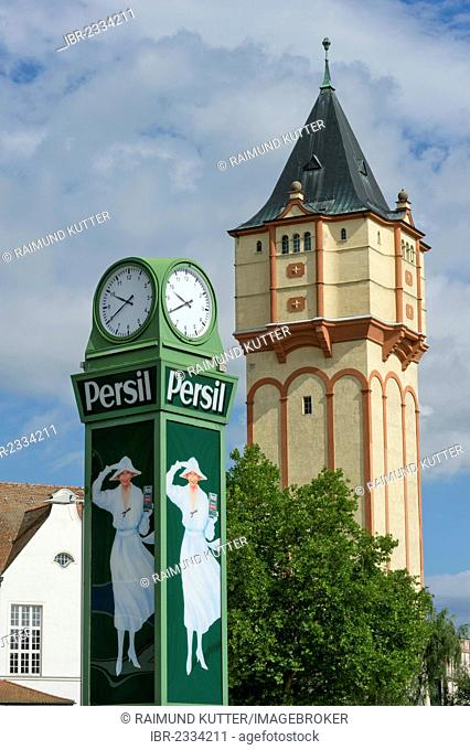 Nostalgic Persil-Clock with the advertisement picture of the white lady, old water tower, Straubing, Lower Bavaria, Bavaria, Germany, Europe, PublicGround