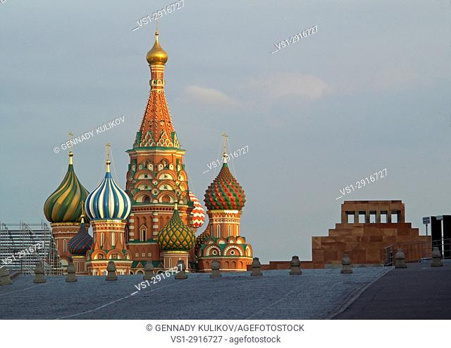 St. Basil's Cathedral (The Cathedral of Vasily the Blessed) and Lenin's mausoleum on the Red Square in Moscow, Russia