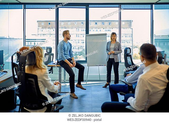 Businesswoman leading a presentation at flip chart in office
