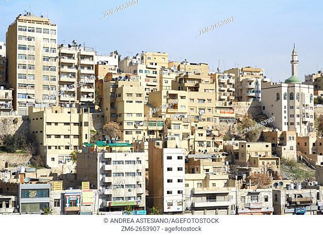 Amman city view of buildings. Amman the capital of Jordan spreads on seven hills