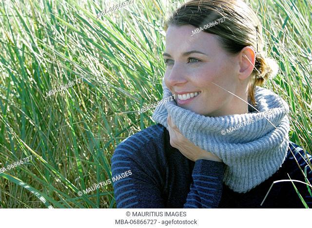 Young woman, Baltic Sea, dunes, leisure time, portrait