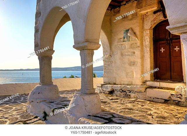 Views of the sea from the portico of the church of Agios Konstantinos, Paros, Cyclades, Greece