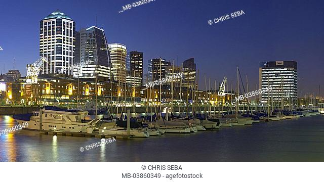 Argentina, Buenos Aires, city-opinion, Puerto Madero, twilight, South America, Latin America, capital, skyline, harbor, marina, boats, yachts, destination