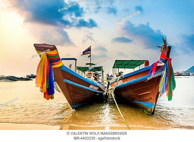 Moored colorful traditional long-tail boats on sandy beach, Ko Pha-ngan, Thailand