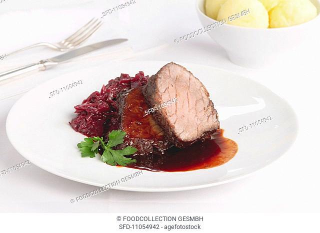 Marinated pot roast with gravy