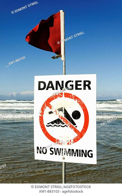 danger, no swimming sign, Beach at Surfers Paradise, Gold Coast, Queensland, Australia