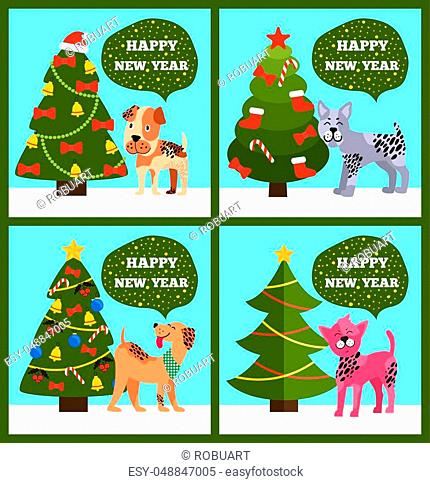 Happy New Year posters set, dogs of different breeds and tree with mistletoe, garlands, balls and bells, bow and sock on vector illustration