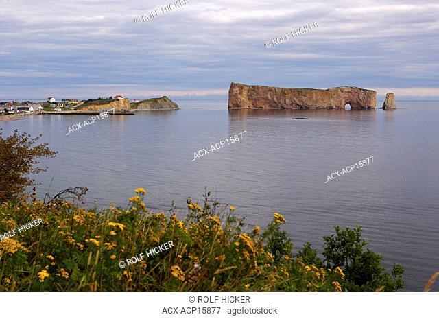 Town of Perce and Perce Rock, Parc National de l'lle-Bonaventure-et-du-Rocher-Perce, Bonaventure Island and Perce Rock National Park, Land's End, Gaspesie