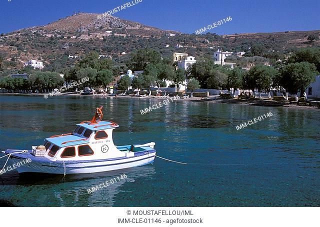 Krithoni, beach, fishing boat , Leros, Dodecanese, Greece, Europe