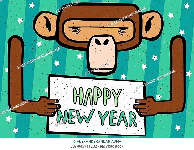 Congratulations caricature Happy New Year 2016 monkey with cyan stripes