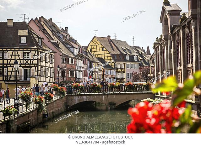 View of Little Venice in Colmar, Alsace (department of Haut-Rhin, region of Grand Est, France)