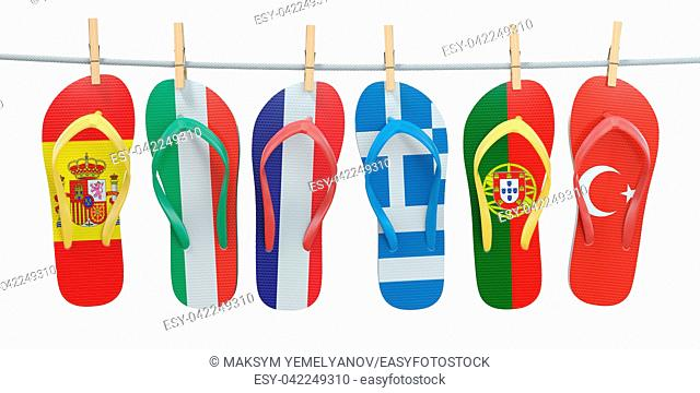 Hanging flip flops in colors of different mediterranean european countries Spain, Italy, France, Portugal, Greece and Turkey