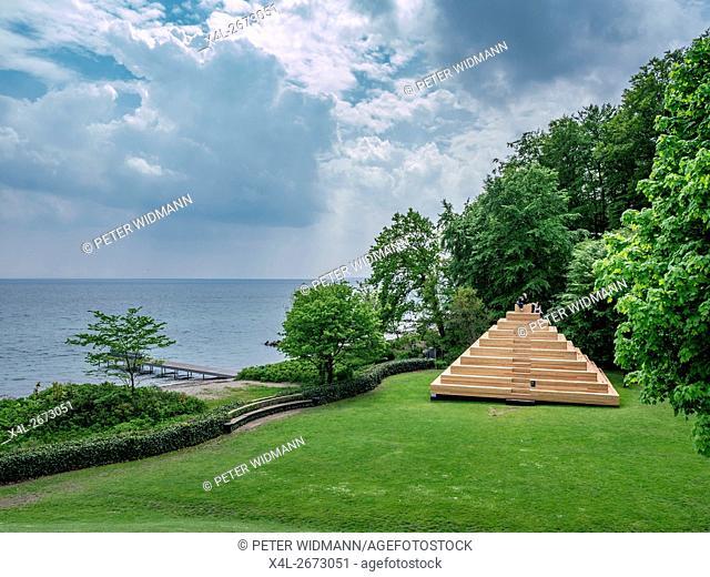 Wooden pyramid in the park, Louisiana Museum of Modern Art, Humlebæk, Humlebaek, Denmark