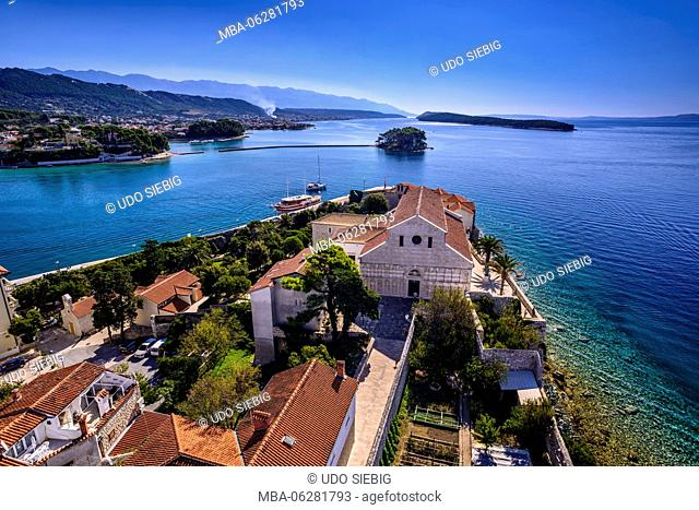 Croatia, Kvarner Gulf, Rab Island, Rab Town, Old Town with cathedral in front of Velebit Mountain, view from the bell tower of Sveta Marija na Škriljinah...