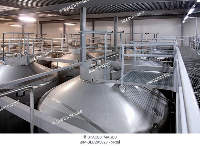 Stainless steel vats in factory