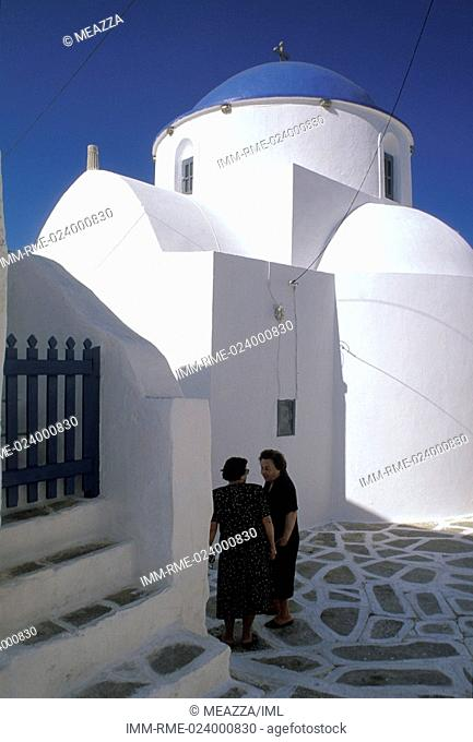 two old women with black dresses near Panagia Church, Sikinos, Cyclades, Greece